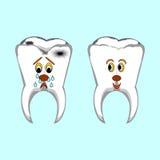Glückliche gesunde und traurige kranke Zähne. Lustige Karikatur IL stock abbildung