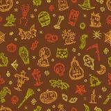 Glückliche gezeichnetes Elementmuster Halloween-Feiertags Hand Lizenzfreie Stockfotografie