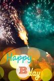 Glückliche Glückwunschkarte der abstrakten Feuerwerke stock abbildung