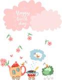 Glückliche Glückwunschkarte des netten Grußes Teekanne mit Blumen und Schalenzug Lizenzfreies Stockbild