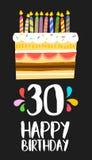 Glückliche Glückwunschkarte 30 dreißig-Jahr-Kuchen Stockfotos
