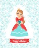 Glückliche Glückwunschkarte kleiner Prinzessin lizenzfreie abbildung