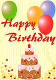 Glückliche Glückwunschkarte mit einem Geburtstagskuchen Stockfotografie