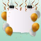 Glückliche Glückwunschkarte mit leerem Zeichen Stockfotos