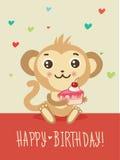 Glückliche Glückwunschkarte mit lustigem Affen und Kuchen in seinen Händen Netter Karikatur-Tier-Vektor Flippiger Affe Stockfotografie