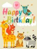 Glückliche Glückwunschkarte mit lustigen Tieren Auch im corel abgehobenen Betrag Alles- Gute zum Geburtstagbilder Stockfotografie