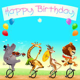 Glückliche Glückwunschkarte mit lustigen wilden Tieren auf Unicycles Lizenzfreie Stockfotografie