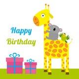 Glückliche Glückwunschkarte mit netter Giraffe, Koala und Papageien Des gesetzten flaches Design Baby-Hintergrundes Giftbox Lizenzfreie Stockfotos
