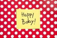 Glückliche Glückwunschkarte mit rotem Hintergrund, Jahrestagsfeier lizenzfreies stockfoto