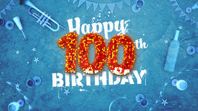 Glückliche 100. Glückwunschkarte mit schönen Details Lizenzfreie Stockfotos