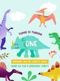 Glückliche Glückwunschkarte mit Spaßdinosaurier, Dino-Ankunftsmitteilung, Grußillustration stock abbildung
