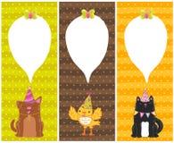 Glückliche Glückwunschkarten mit Hund, Katze, Vogel Stockfotos