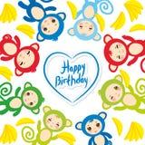 Glückliche Glückwunschkarteschablone, lustiger grün-blauer rosa orange Affe, gelbe Bananen, Jungen und Mädchen auf weißem Hinterg Stockbild