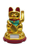 Glückliche goldene Katze Maneki Neko lokalisiert auf Weiß Stockbild