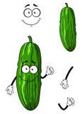 Glückliche grüne Karikaturgurke Stockfotografie