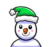 Glückliche grüne Santa Cap Snowman vektor abbildung