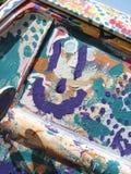 Glückliche Graffitipurpurperson Stockbild