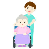 Glückliche Großmutter am Pflegeheim Stockfoto