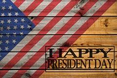 Glückliche Grußkarte Präsidenten Day auf hölzernem Hintergrund lizenzfreie abbildung