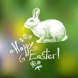 Glückliche Grußkartenschablone Ostern Hand gezeichnete lokalisiert auf grünem undeutlichem Hintergrund Vektor Lizenzfreie Abbildung