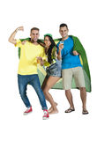 Glückliche Gruppe Brasilien-Anhänger zujubelnd mit Brasilien-Flagge Stockfoto