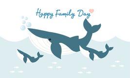 Glückliche Haifischfamilie Nettes Tierzeichen vektor abbildung