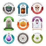 Glückliche Halloween-Ausweise und -aufkleber Lizenzfreies Stockfoto