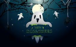 Glückliche Halloween-Designillustration Weiße Geister und Schläger, die auf Vollmondhintergrund fliegen Lizenzfreies Stockfoto