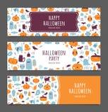 Glückliche Halloween-Fahnen eingestellt Lizenzfreies Stockbild