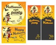 Glückliche Halloween-Fahnen, Parteieinladungen, Grußkartensatz Lizenzfreies Stockfoto