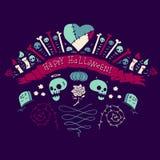 Glückliche Halloween-Gruß-Karte Lizenzfreie Stockfotografie