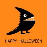 Glückliche Halloween-Gruß-Karte Schwarzes Schattenbildmonster mit scharfem Endstück, Horn, Reißzahnzahn, Auge Lustiger Charakter  Stockfotografie