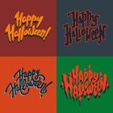Glückliche Halloween-Hand gezeichnet, Postkarten beschriftend Vektor Abbildung