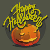 Glückliche Halloween-Hand gezeichnet, Postkarten mit Kürbis beschriftend Stock Abbildung