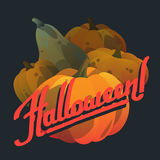 Glückliche Halloween-Hand gezeichnet, Postkarten mit Kürbisen beschriftend Stockfoto