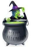 Glückliche Halloween-Hexe und -großer Kessel Stockfoto