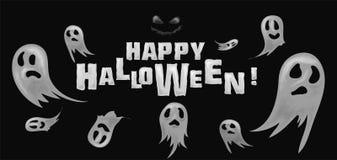 Glückliche Halloween-Hintergrund-Geister stock abbildung