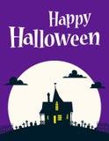 Glückliche Halloween-Illustration auf Hintergrund des Mondes lizenzfreie abbildung