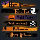 Glückliche Halloween-Kalligraphie Fahne, Aufschrift Reale gemalte abstrakte Beschaffenheit wurde zu verfolgt Lizenzfreie Stockfotografie