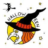 Glückliche Halloween-Karikaturikone mit Hexe Stockfoto