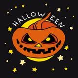 Glückliche Halloween-Karikaturikone mit Kürbis Stockfoto