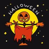 Glückliche Halloween-Karikaturikone mit Vogelscheuche Lizenzfreie Stockfotografie