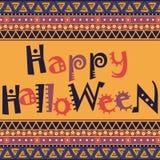 Glückliche Halloween-Karte mit afrikanischem Verzierungsdesign lizenzfreie abbildung