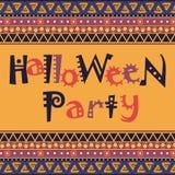 Glückliche Halloween-Karte mit afrikanischem Verzierungsdesign stock abbildung