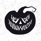 Glückliche Halloween-Karte mit Beschriftung, was in Kürbisform einfügt Lizenzfreie Stockfotografie