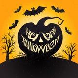 Glückliche Halloween-Karte mit Kürbis Vektorillustration mit Beschriftung Lizenzfreies Stockfoto