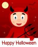 Glückliche Halloween-Karte mit rotem Teufel Stockbild