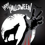Glückliche Halloween-Karte mit Vollmond, Wolfschattenbild und der gebissenen Hand im dunklen Wald stock abbildung