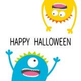 Glückliche Halloween-Karte Schreiender Kopf-Schattenbildsatz des Monsters zwei Augen, Zähne, Zunge, Hände Hängen umgedreht Lustig stock abbildung