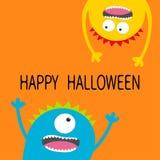 Glückliche Halloween-Karte Schreiender Kopf-Schattenbildsatz des Monsters zwei Augen, Zähne, Zunge, Hände Hängen umgedreht Lustig lizenzfreie abbildung